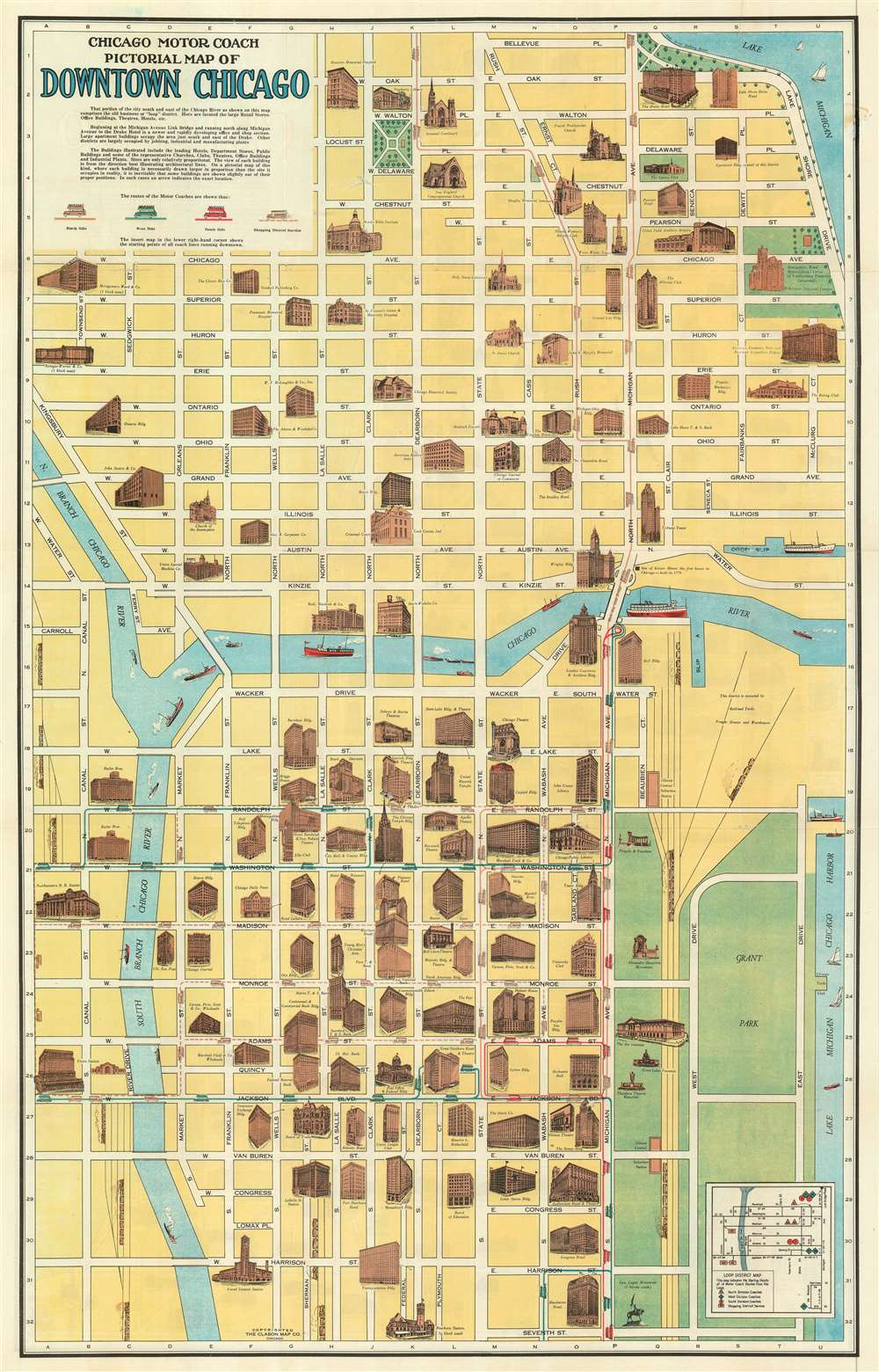 Chicago Motor Coach Pictorial Map of Downtown Chicago.