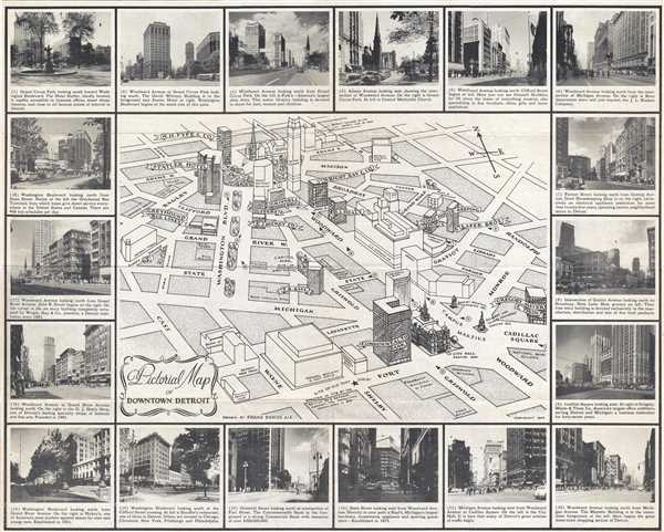 Pictorial Map of Downtown Detroit Geographicus Rare Antique Maps