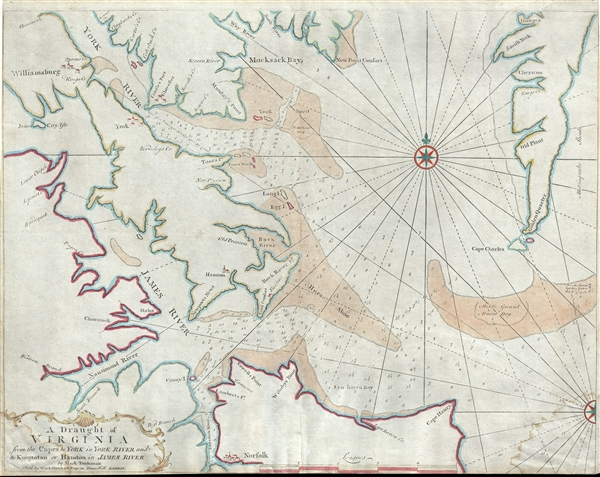 A Draught of Virginia from the Capes to York in York River and to Kuiquotan or Hamton in James River. - Main View