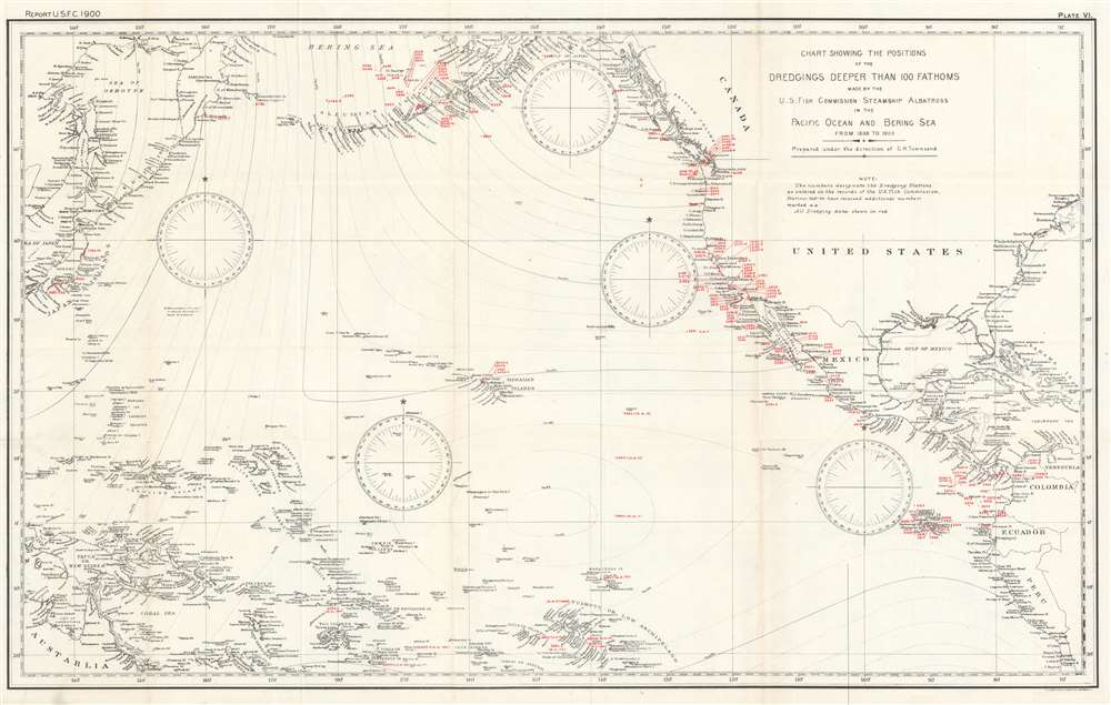 Chart Showing the Positions of the Dredgings Deeper than 100 Fathoms Made by the U.S. Fish Commission Steamship Albatross in the Pacific Ocean and Bering Sea from 1888 to 1900. - Main View