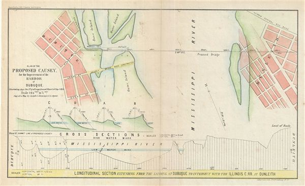 Plan of the Proposed Causey.  For the Improvement of the Harbor of Dubuque. - Main View