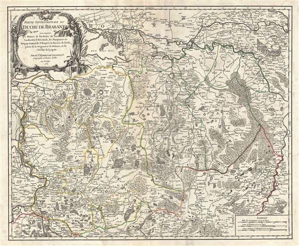 Partie Septentrionale du Duche de Brabant ou se trouvent les Mairies de Bosleduc, le Turnhout, de Santhoven, d'Herentals, les Marquisats de Berg-op-Zoom, et du St. Empire, la Baronie de Breda, partie de la Seigneurie de Malines, et de l'Eveche de Lyege etc.
