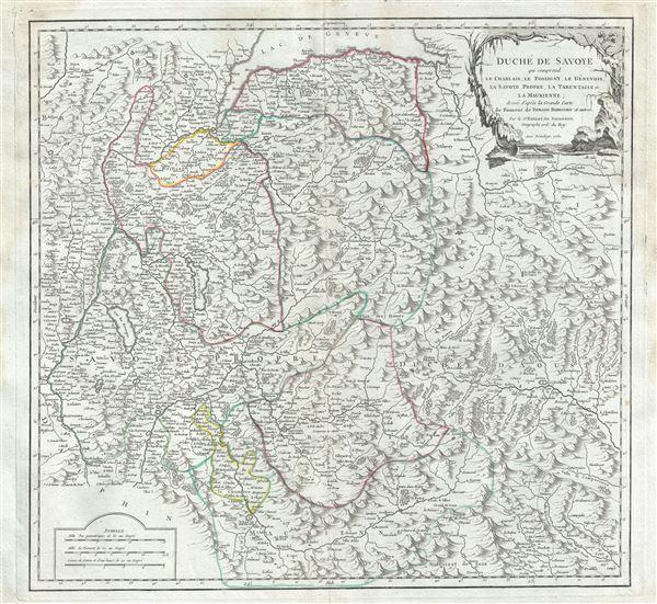 Duche de Savoye qui comprend le Chablais, le Fossigny, le Genevois, la Savoye Propre, la Tarentaise et la Maurienne; dresse d'apres la Grande Carte de Piemont de Tomaso Borgomo (i.e., Borgonio) et autres.