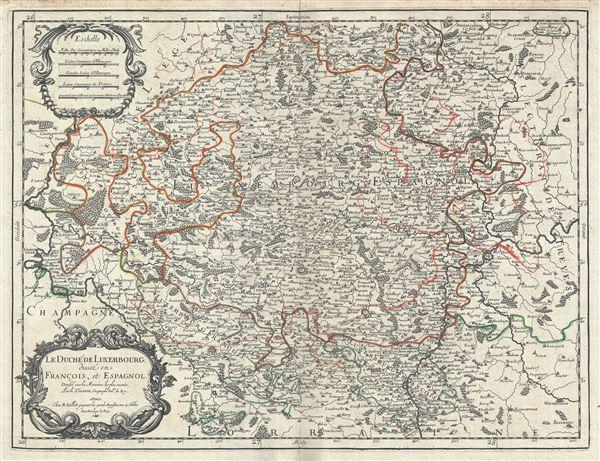 Le Duche de Luxembourg, divise en Francois, et Espagnol.