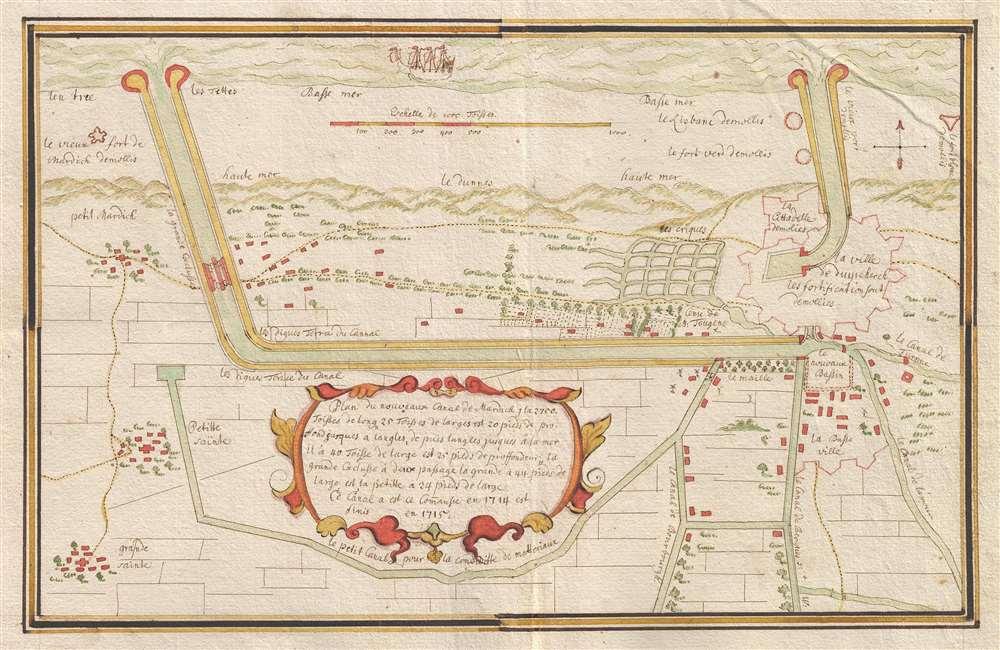 Map Of France Dunkirk.Plan Du Nouveau Canal De Mardick Geographicus Rare Antique Maps