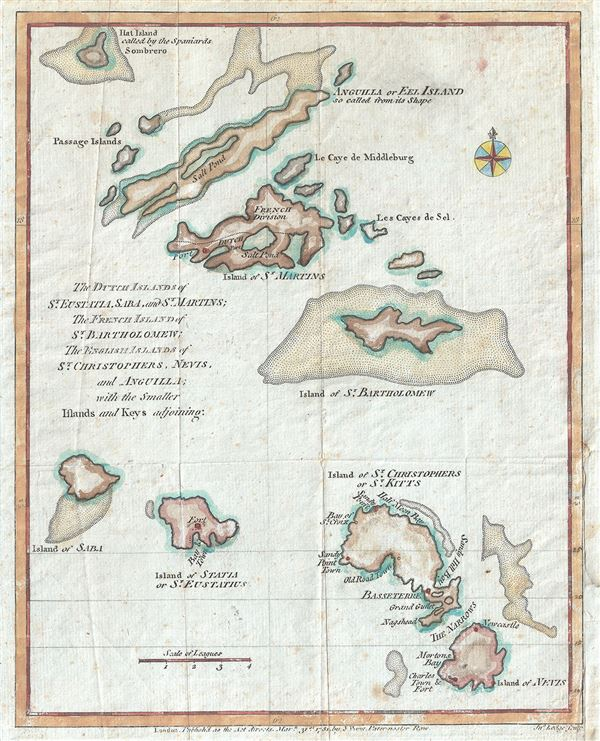 The Dutch Islands of St. Eustatia, Saba, and St. Martins; The French Island of St. Bartholomew; The English Islands of St. Christophers, Nevis, and Anguilla; with the smaller Islands and Keys adjoining. - Main View