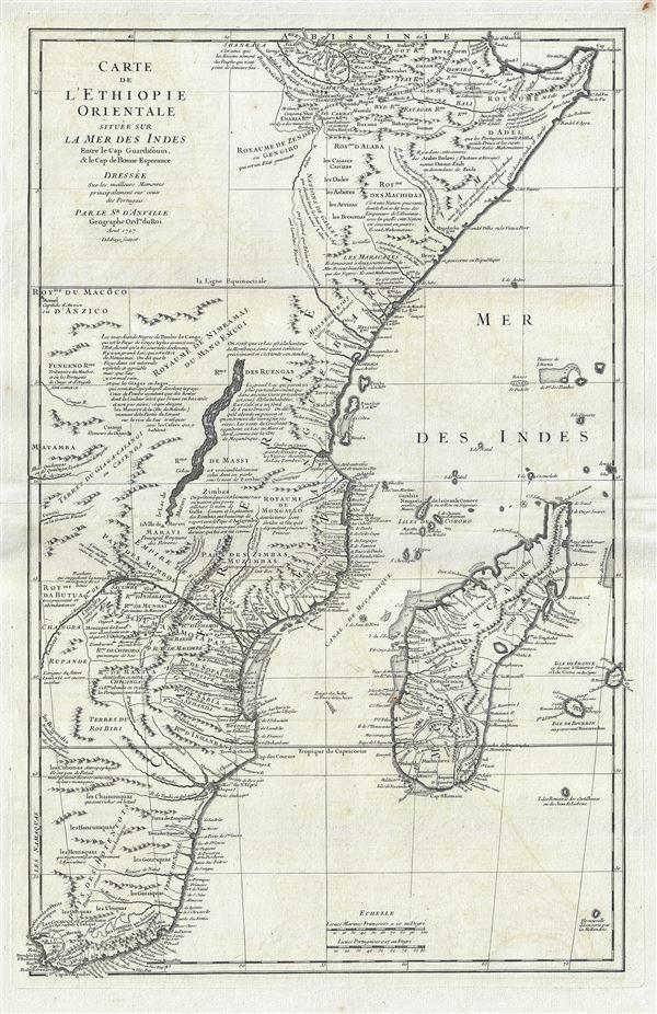 Carte de L'Ethiopie Orientale situee sur La Mer Des Indes Entre le Cap Guardasouin, le Cap de Bonne Esperance.