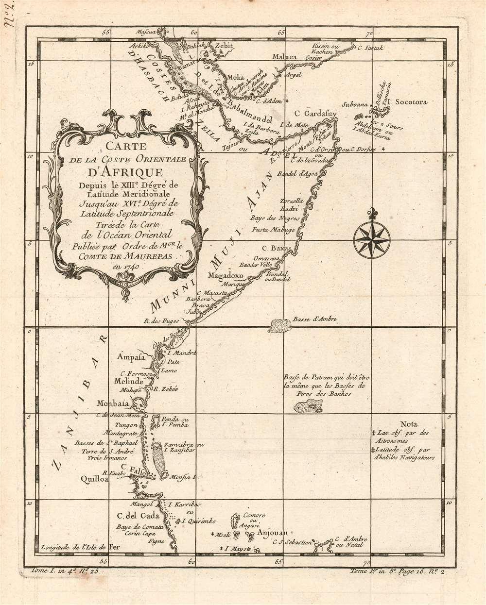 Carte de la coste orientale d'Afrique depuis le XIIIe. Dégré de Latitude Meridionale Jusqu'au XVIe. Dégré de Latitude Septenrionale Tireé de la carte de l'ocean oriental publiée par ordre de mgr. le Comte de Maurepas en 1740. - Main View