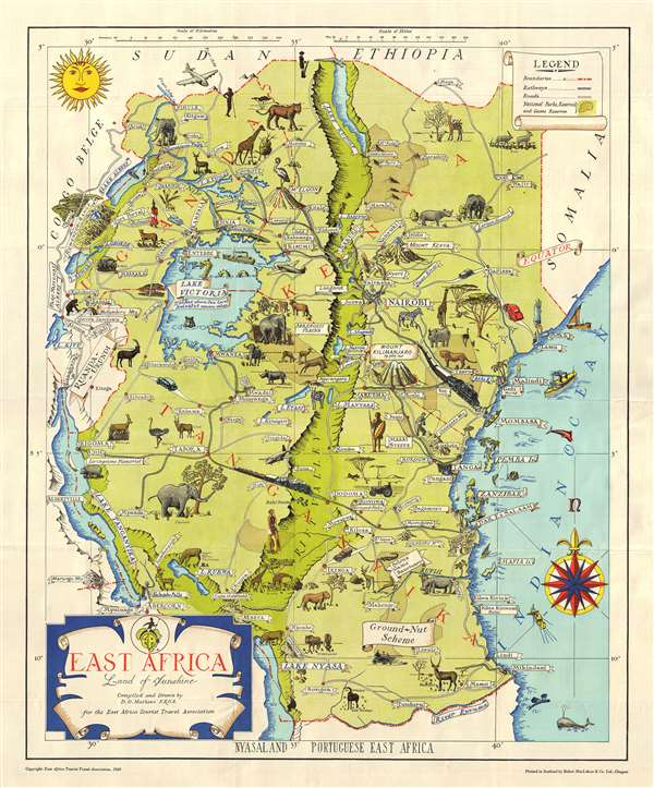 Map Of Africa Zanzibar.East Africa Land Of Sunshine Geographicus Rare Antique Maps