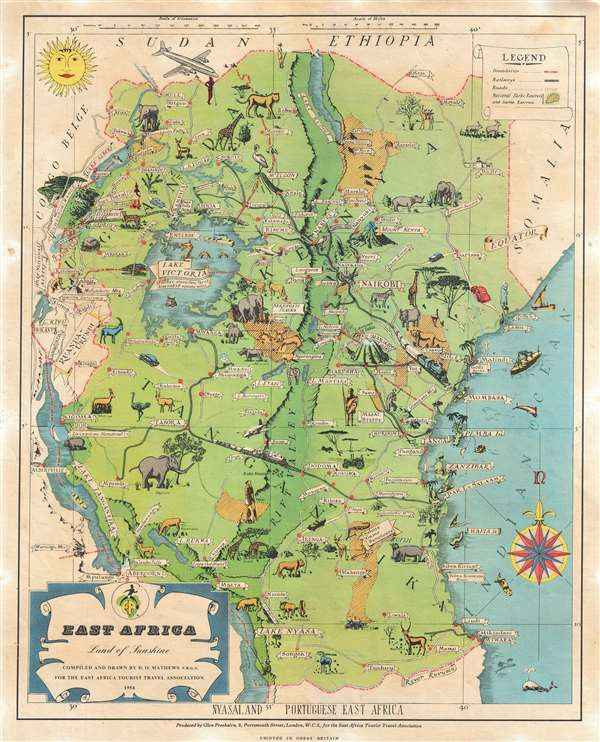 East Africa. Land of Sunshine.: Geographicus Rare Antique Maps