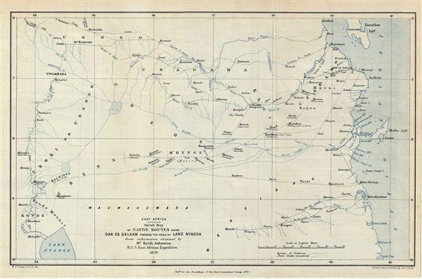 East Africa.  Sketch Map of native Routes from Dar Es Salaam towards the head of Lake Nyassa. - Main View