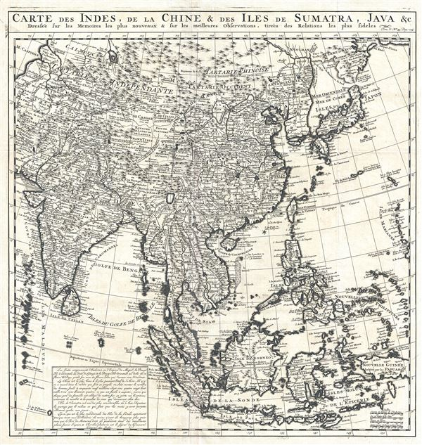 Carte des Indes, dea la Chine and des Iles de Sumatra, Java and c. Dressee sur les Memoires les pulus nouveaux and sur les meilleures Observations, tirees des Relations les plus fideles.