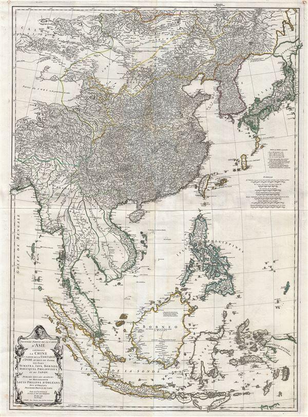 Second partie de la Carte d'Asie contenant La Chine et Partie de la Tartarie, L'Inde au de la du Gange, les Isles Sumatra, Java, Borneo, Moluques, Philippines, et du Japon.