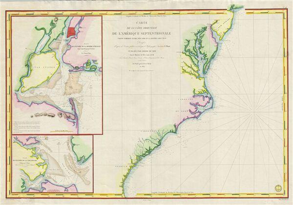 Carte de la Cote Orientale de l'Amerique Septentrionale Partie Comprise Entre New York et la Riviere Saint Jean.