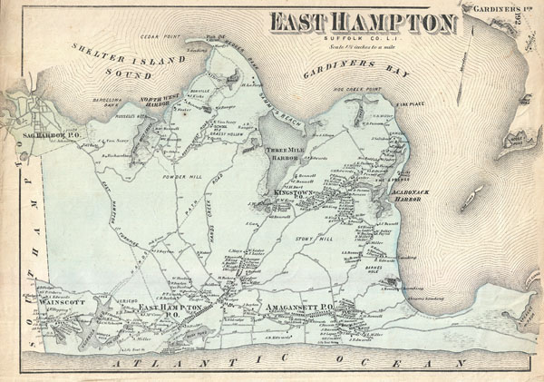 Hamptons New York Map.East Hampton Suffolk Co L I Geographicus Rare Antique Maps