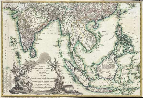 Carte du Theatre De La Guerre Dans L'inde ou se Trouvent Une Partie de La Chine, Les Iles De Sumatra, Java, Borneo, Moluques et Philippines.  Dressee d'apres les Meilleures Cartes tant Francaises qu'Anglaises.