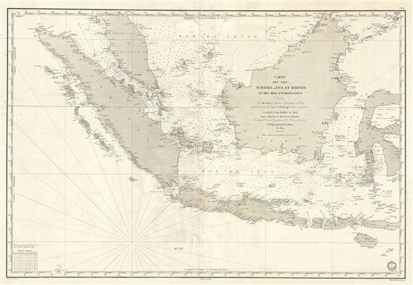 Carte des Iles Sumatra, Java et Borneo et des mers Environnates.