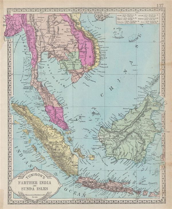 Beautiful Places In Malaysia With Description: Tunison's Farther India And Sunda Isles.: Geographicus