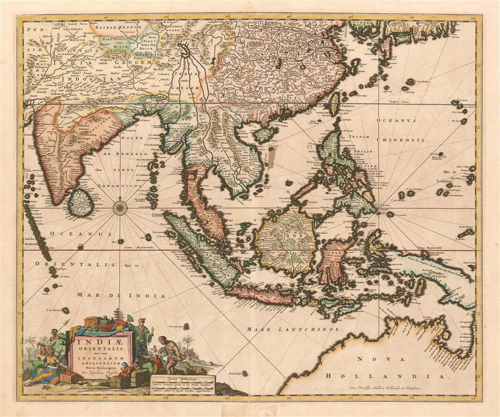 1677 Visscher Map of the East Indies, Southeast Aisa, and Australia