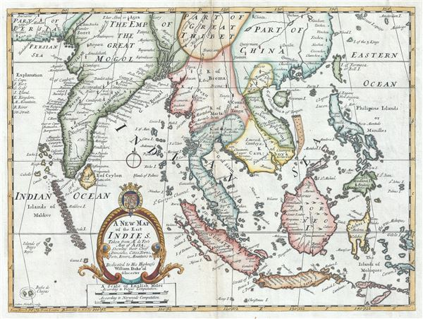 A New Map of the East Indies, Taken from Mr. de Fer's Map of Asia, Shewing their Chief Divisions, Cities, Towns, Ports, Rivers, Mountains etc. - Main View