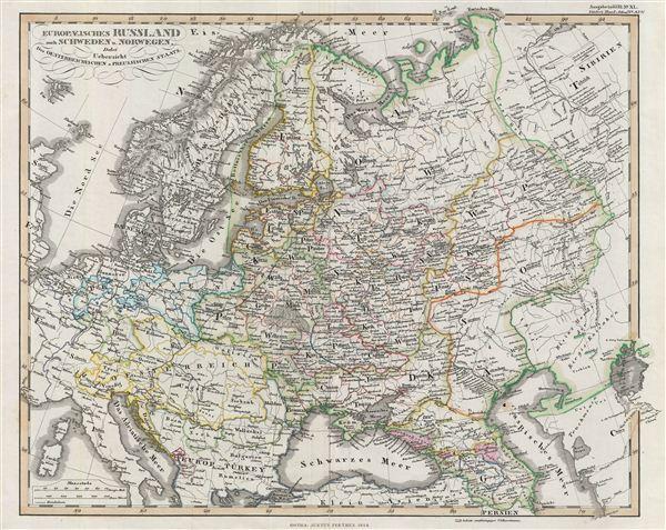 Europaeisches Russland auch Schweden u. Norwegen, Dabei Uebersicht des Oesterreichischen u. Preussischen Staats.