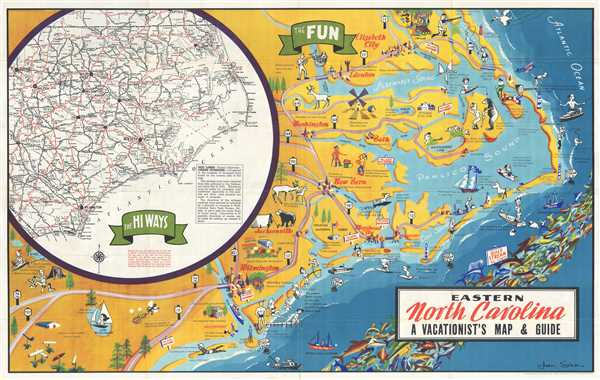 Eastern North Carolina: A Vacationist\'s Map and Guide: Geographicus ...