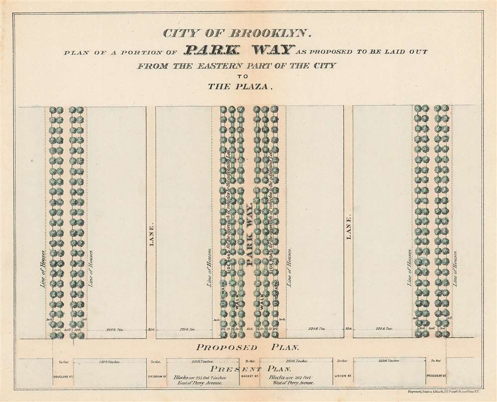 1868 Vaux and Olmstead's Layout Map of Eastern Parkway, Brooklyn, New York