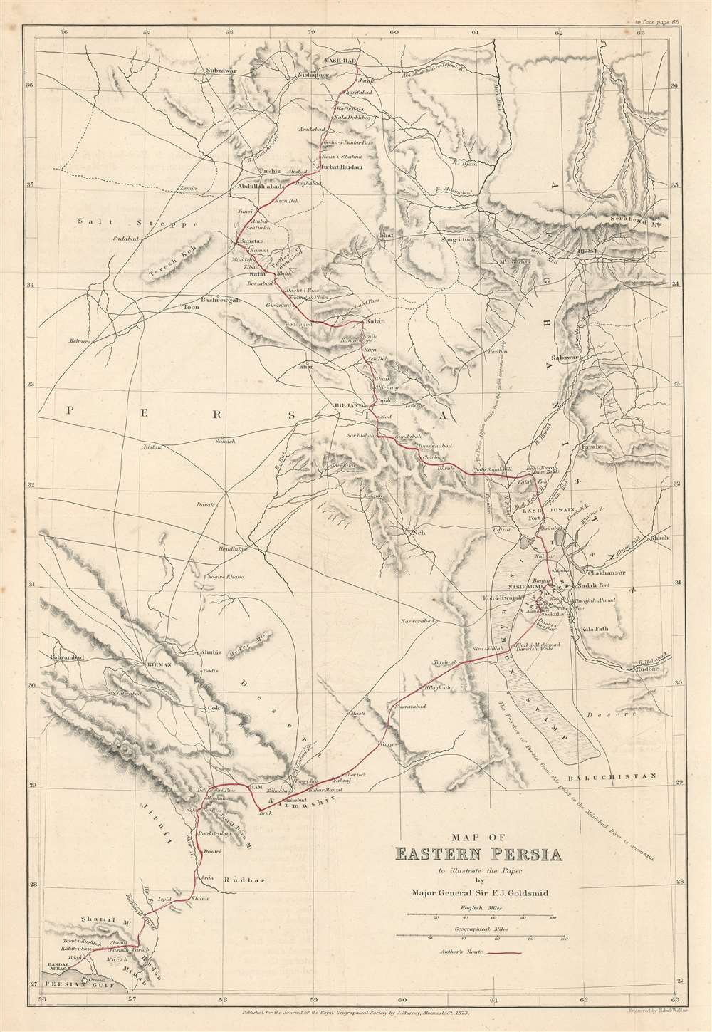 Map of Eastern Persia to illustrate the Paper by Major General Sir F. J. Goldsmid. - Main View