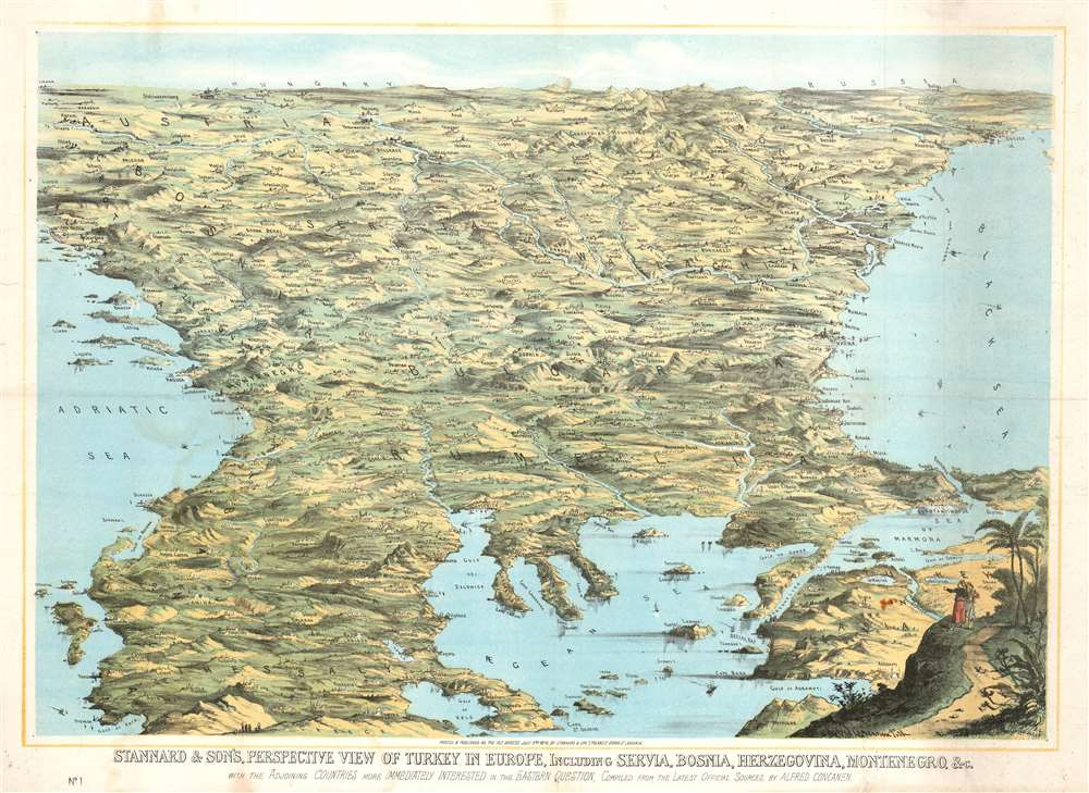 Stannard and Son's, Perspective View of Turkey in Europe, Including Servia, Bosnia, Herzegovina, Montenegro, and c, with the Adjoining Countries more Immediately Interested in the Eastern Question, Compiled from the Latest Official Sources, by Alfred Concanen. - Main View