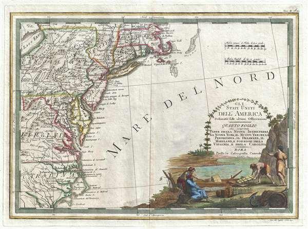 Gli Stati Uniti dell' America delineati sulle ultime Osservazioni, Quarto foglio che comprende parte della Nuova Inghilterra, la Nuova York, il Nuovo Yersey, la Pensilvania, il Delaware, il Maryland, e porzioni della Virginia, e della Carolina.