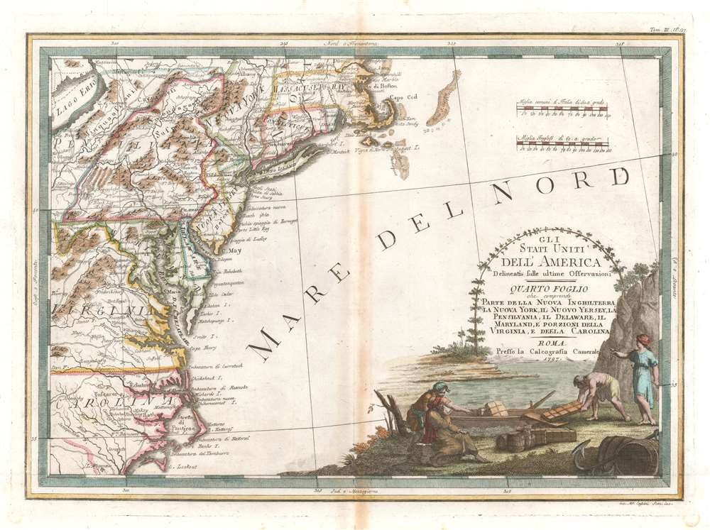 1797 Cassini Map of the Eastern Coast of the United States
