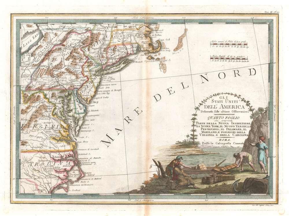 Gli Stati Uniti dell' America delineati sulle ultime Osservazioni, Quarto foglio che comprende parte della Nuova Inghilterra, la Nuova York, il Nuovo Yersey, la Pensilvania, il Delaware, il Maryland, e porzioni della Virginia, e della Carolina. - Main View