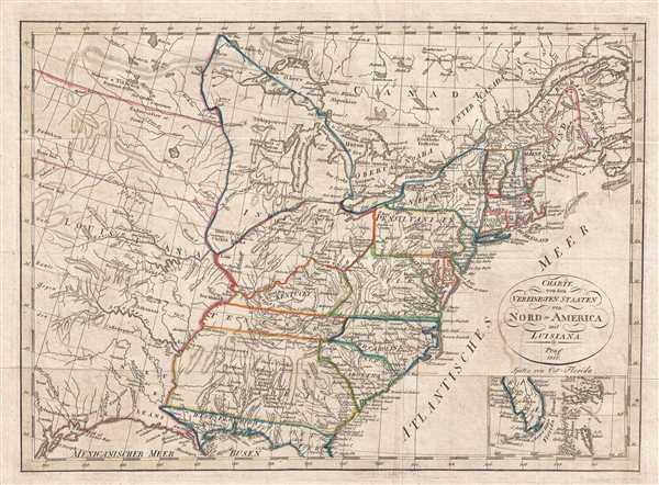 Charte von den Vereinigten Staaten von Nord=America mit Luisiana.