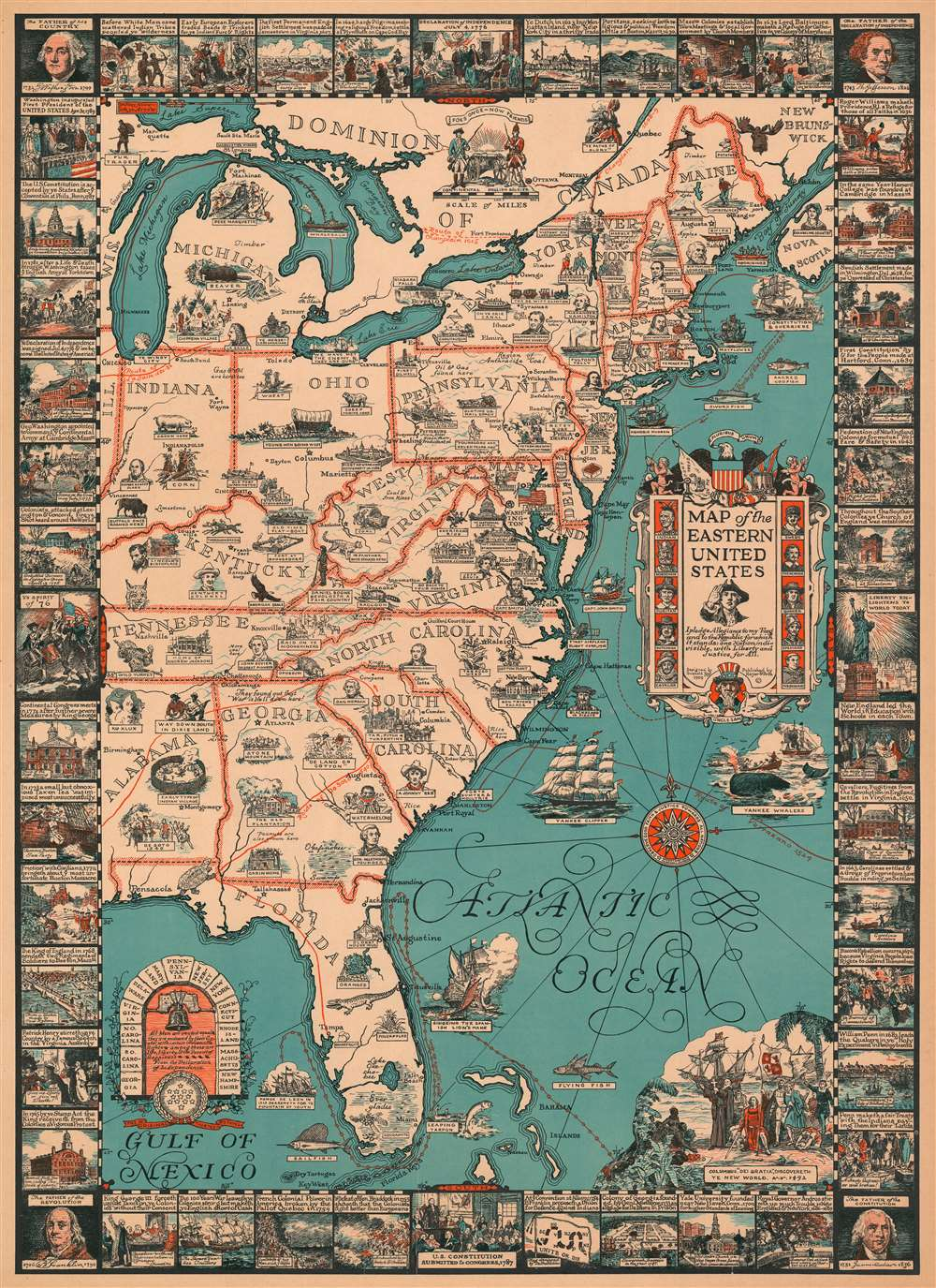 1929 Tyng Pictorial Map of the Eastern United States