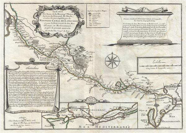 La Carte des Eaux de la Montagne Noire, du Lers, du Fresquel, de l'Aude, et autres Rivieres emploiees pour le Nouveau Canal de Languedoc et pour la Ionction des deux Mers Oceane, et Mediterranee, jusqu'a la presente annee 1681.