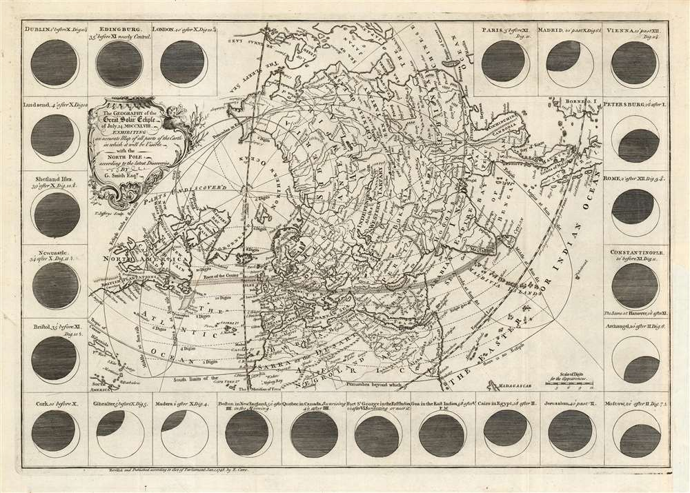 Thegeographyofthegreatsolareclipseof July 14 MDCCXLVIII. : exhibiting an accurate map of all parts oftheEarth in which it will be visible withtheNorth Pole according tothelatest discoveries. - Main View