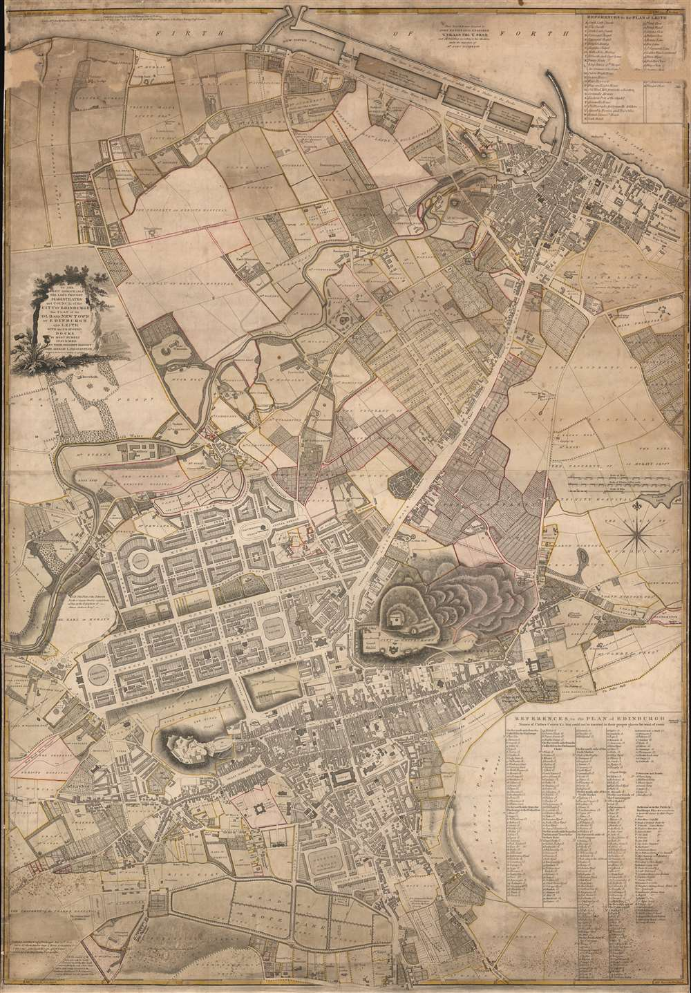 To the Right Honourable The Lord Provost Magistrates. and Council of the City of Edinburgh this Plan of the Old and new Town of Edinburgh and Leith With the Proposed Docks is Most Humbly Inscribed by Their Obedient Servant John Ainslie Land-Surveyor. - Main View