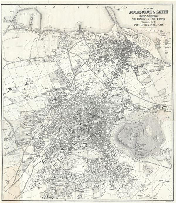 Plan of Edinburgh and Leith with Suburbs, from Ordnance and Actual Surveys, Constructed for the Post Office Directory,
