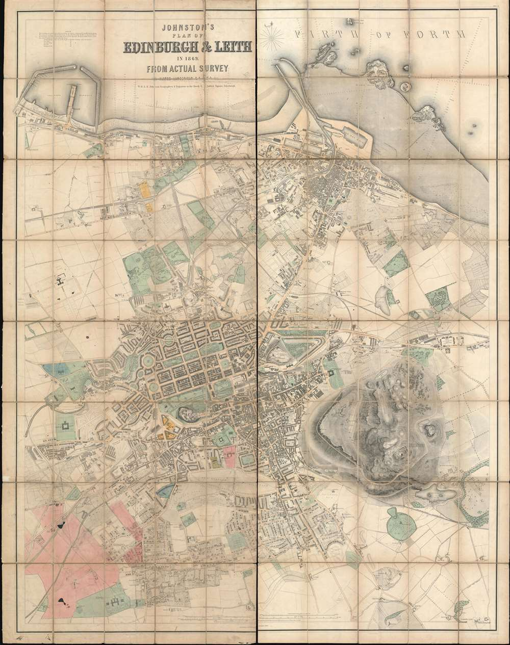 1869 Johnston City Plan or Map of Edinburgh and Leith, Scotland