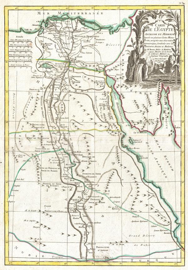 Carte De L'Egypte Ancienne et Moderne Dresse sur plusieurs Cartes Manus crites, assijeties aux observations Astronomique, Combinees avec les Itineraires Anciens et Modernes.