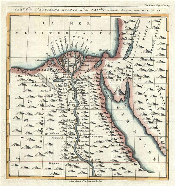 Carte de L'Ancienne Egypte et desPais d'alentour, Suivant cette Histoire.