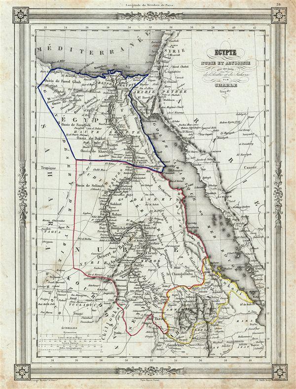 Egypte Nubie et Abyssinie avec une partie de l'Arabie et du Sahara.