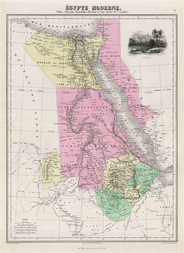 Egypte Moderne.  Nubie, Abissinie, Kordofan, Darfour et une partie de l'Arabie.