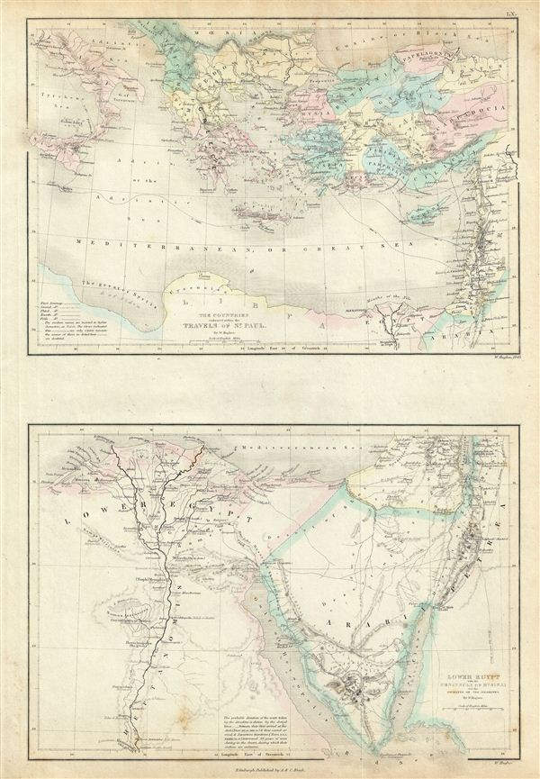 The Countries embraced within the Travels of St. Paul.  Lower Egypt with the Peninsula of Mt. Sinai and the Journeys of the Israelites. - Main View