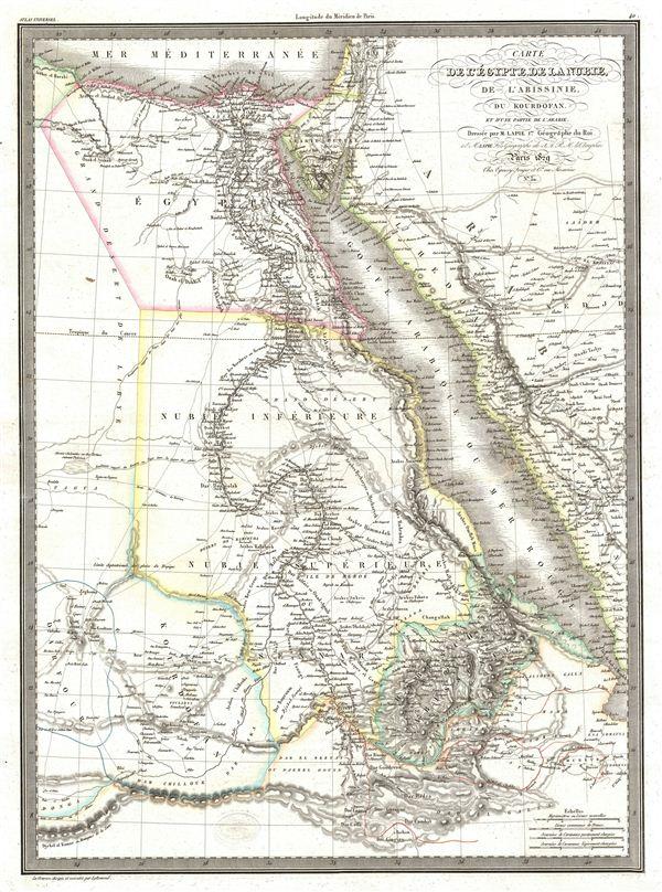 Carte de l'Egypte de la Nubie, de l'Abissinie, du Kourdofan.