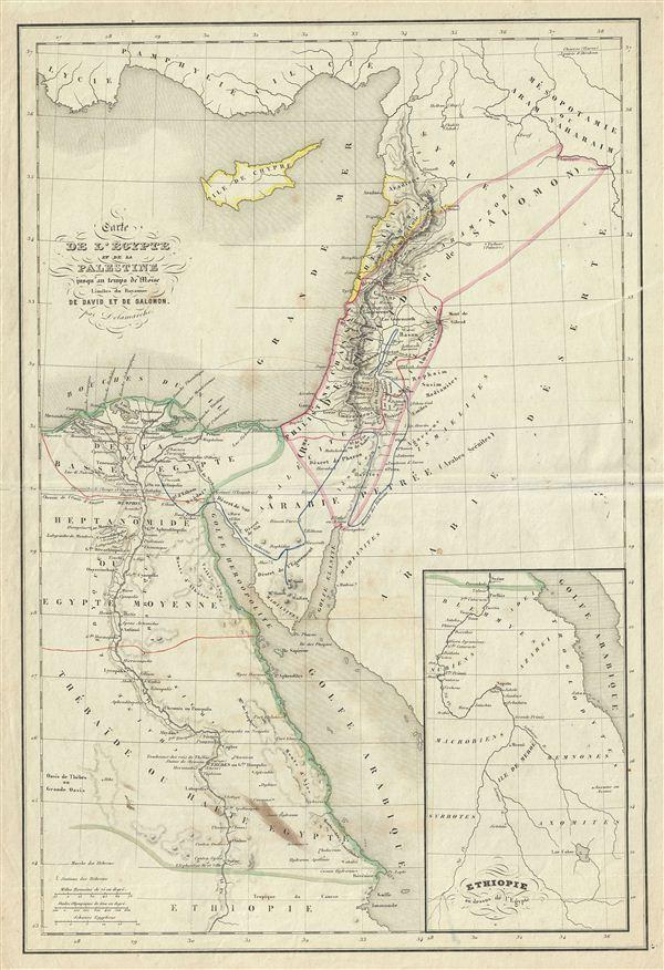Carte de l'Égypte et de la Palestine jusqu'au temps de Moise Limites du Royaume de David et de Salomon.