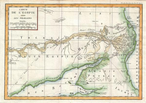 Carte de l'Egypte sous les Pharaons.