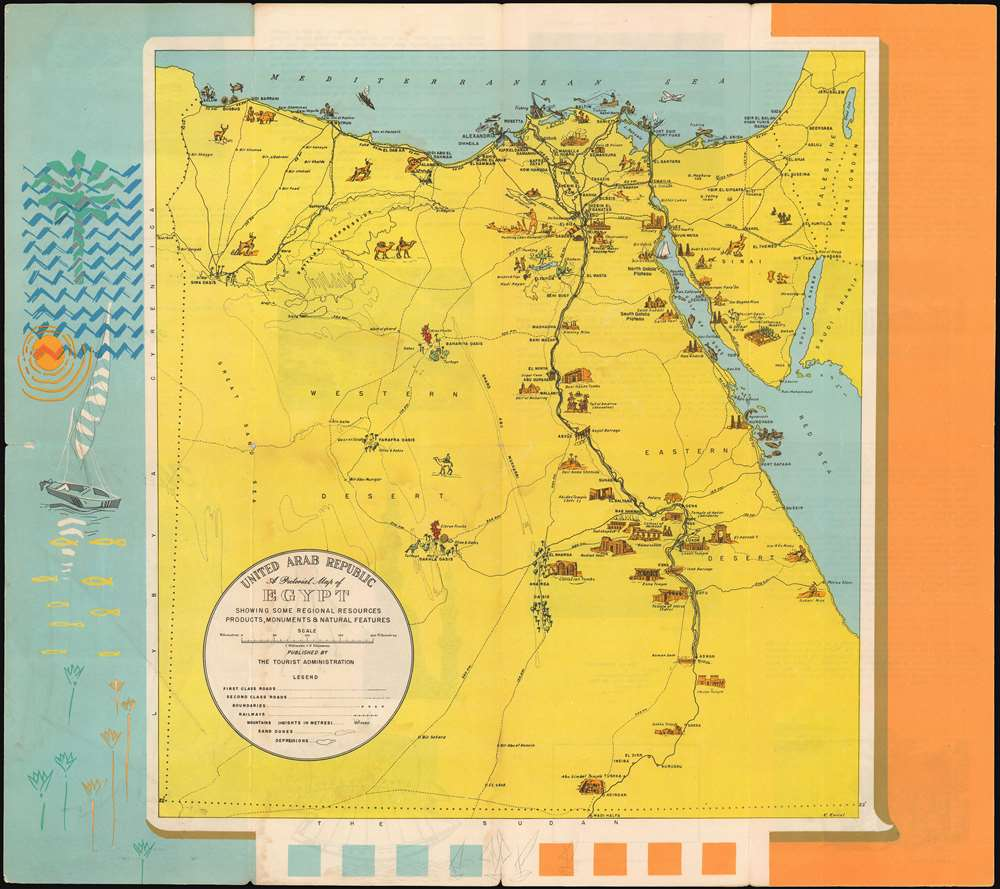 United Arab Republic. A Pictorial Map of Egypt Showing some Regional Resources, Products, Monuments and Natural Features. - Main View