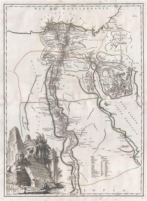Carte de l'Egypte Ancienne et Moderne, dressee sur celle du R.P. Sicard et autres, assujetties aux observations astronomiques.
