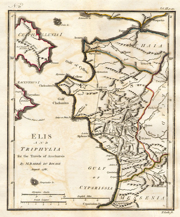 1786 Bocage Map of Elis and Triphylia in Ancient Greece (First Olympic Games)
